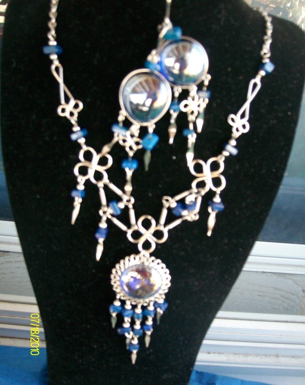 Alpaca  Necklace and Earring Set   Blue ( A-5 )  Bonanza