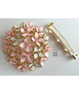 Pink and White Blossom Brooch Scarf Holder - $11.50