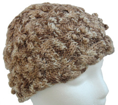 Brown and White Hand Knit Hat with border cables - $23.00