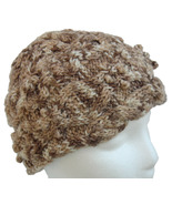 Brown and White Hand Knit Hat with border cables - $25.50