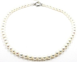 COLLIER, FERMOIR ANNEAU OVALE OR BLANC 18K, PERLES BLANCHES 7-7.5 MM image 1