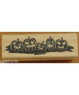Pumpkin Jack o Lantern Border Rubber Stamp NEW Halloween Craftsmart Wood... - $3.00