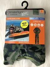 Cuddl Duds Boys Green Camo Stretch Fleece Baselayer Set ClimateRight Lon... - $11.87