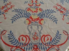 "True Vintage Printed Cotton Tablecloth Red Blue Flower Vases Ferns 51"" - $18.49"