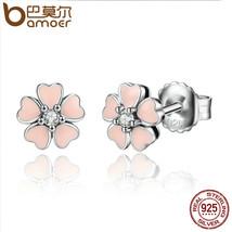 BAMOER 925 Sterling Silver Pink Heart Flower Female Stud Earrings Women ... - $16.78
