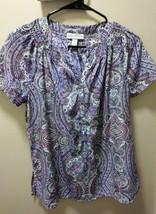 Dana Buchman purple.white, tan paisley button down neck shirt size M - $9.50