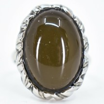 Classic Silver Tone Oval Cabochon Color Changing Adjustable Mood Ring
