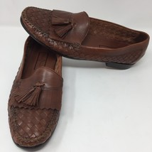 Cole Haan Woven Brown Leather Tassel Shoes Sz 11 M Loafers Slip On Casual - $52.76