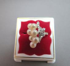 14K White Gold Pearl & Diamond Ring Estate Nice VTG Sizeable 4.5 Pinky B... - $197.99