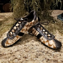 Womens Coach Kirby Signature Brown Leather Sateen Fashion Sneakers Sz 8 - $54.21 CAD