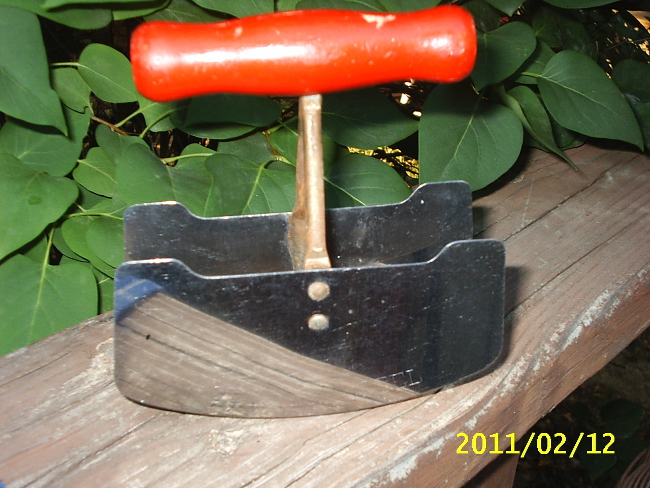 Vintage Red Wooden Handled Chopper~Double Stainless Steel Blade & Metal Chopper