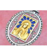 ANTIQUE DIAMOND BLUE PLIQUE-A-JOUR PRAYING VIRGIN MARY RELIGIOUS PENDANT... - $1,336.50
