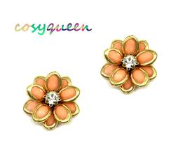 Women New Gold Clear Stone Coral Flower Petal Stud Pierced Earrings - $21.48 CAD