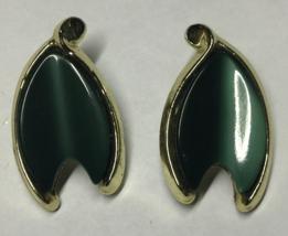 VTG Gold Tone Dark Green Thermoset Plastic Modernist Leaf Shaped Clip Ea... - $9.08