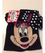 Disney MINNIE MOUSE Black/PINK HAT & GLOVES Glove SET Pom-Pom Bow NEW! - $17.81