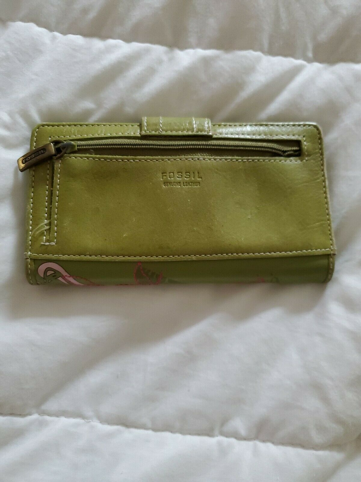 Fossil Leather Green Multicolor Floral Bi-Fold  Checkbook Wallet image 2