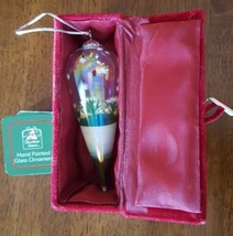 Christmas House Ornament Glass Hand Painted Tear Drop In Box New Flowers Gift - $13.85