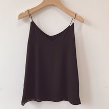 Women Black Chiffon Top Sleeveless V-Neck Summer Chiffon Tank Tops Pearl Deco  image 4