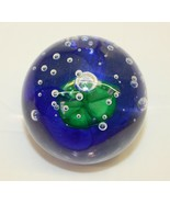 Beautiful Vintage Hand Blown Glass Blue and Green Paperweight  - $24.74