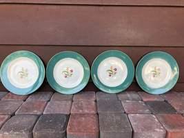 Vintage 4 Cavalier Eggshell By Homer Laughlin Green Floral Salad Plates ... - $16.26