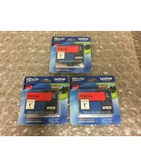 """Lot of 3 Brother P-touch TZe-451 Tape Black Print On Red Tape 24mm 0.94"""" - $20.00"""