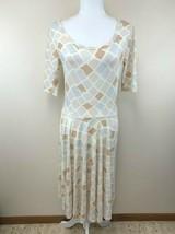 Lularoe M Cream Peach Lavender Pastel Watercolor Diamond Nicole Dress - $23.99