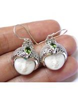 925 Silver Bali Goddess Earrings// Ox Bone Face//Peridot Gem GDE-1412-DG - $38.99