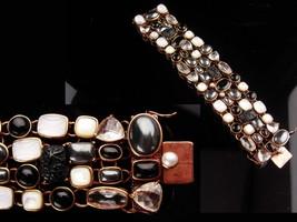 Amy Kahn Bracelet - carved black onyx - Pearl - Hematite - bronze cluster wide b image 5