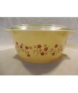 Vintage Pyrex Promotional Cream Trailing Flowers 2 1/2 Qt. Casserole W/L... - $14.95