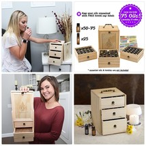 Essential Oil Box - Wooden Storage Case With Handle. Holds 75 Bottles am... - $59.75
