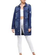 Women's Oversized Casual Cotton Button Up Distressed Long Denim Jean Jacket image 8