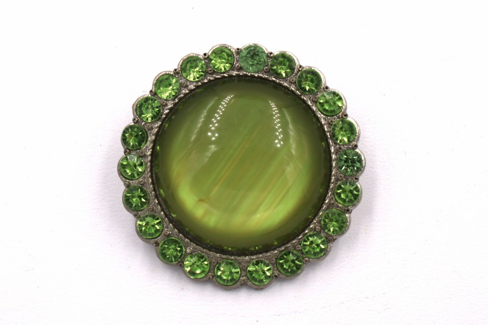 Primary image for Domed Green Moonglow Peridot Green Simulated Rhinestone Brooch Pin