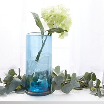 "Blue Ocean Waters Cylinder Art Glass Vase Large 12.5"" High - $43.95"