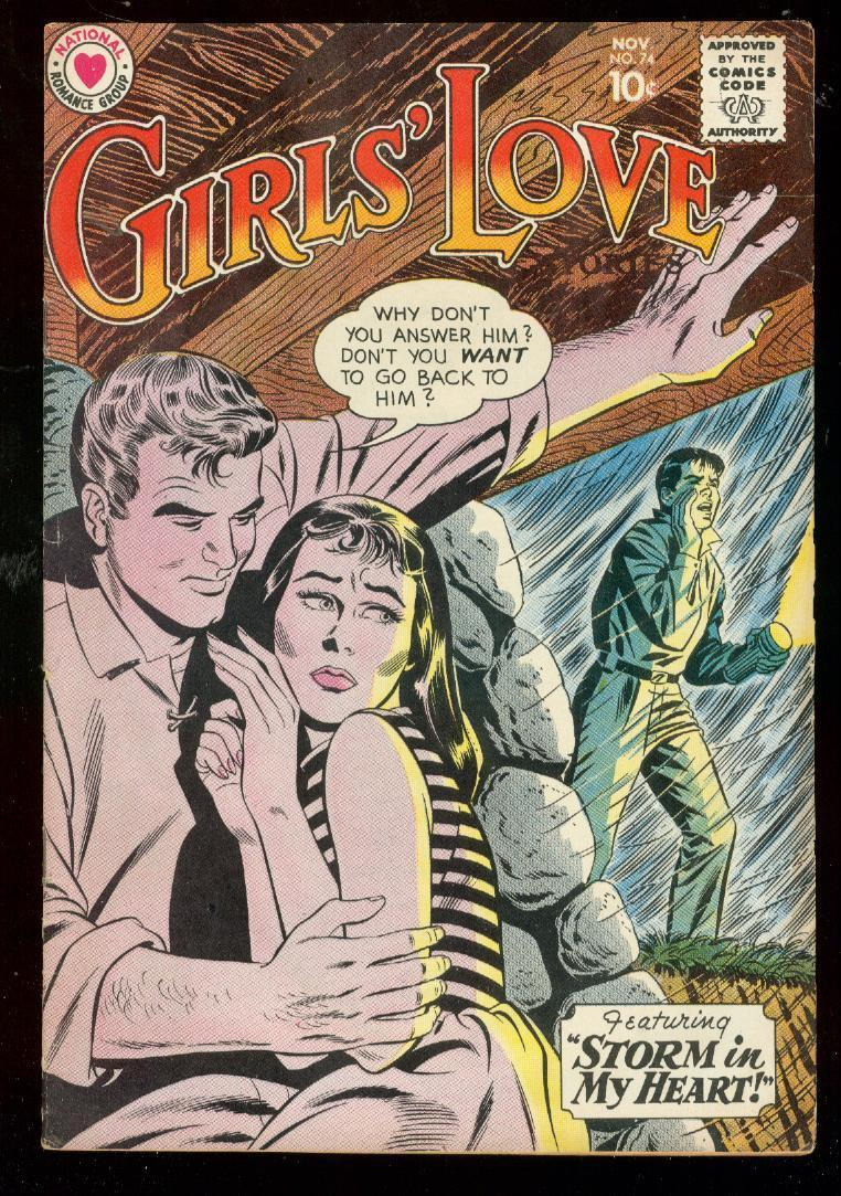 GIRLS LOVE STORIES #74 1960-STORMY ROMANCE COVER-RARE FN
