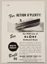 1948 Print Ad Globe Outboard Boats Inland Marine Co. Williams Bay,WI - $10.08