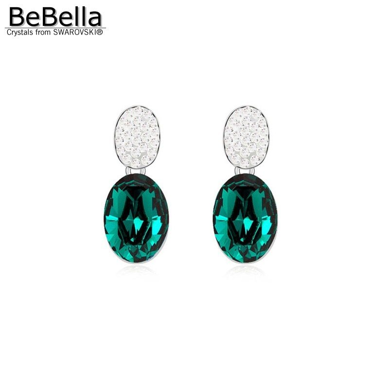 BeBella oval crystal drop earrings made with Crystals from Swarovski fashion cry