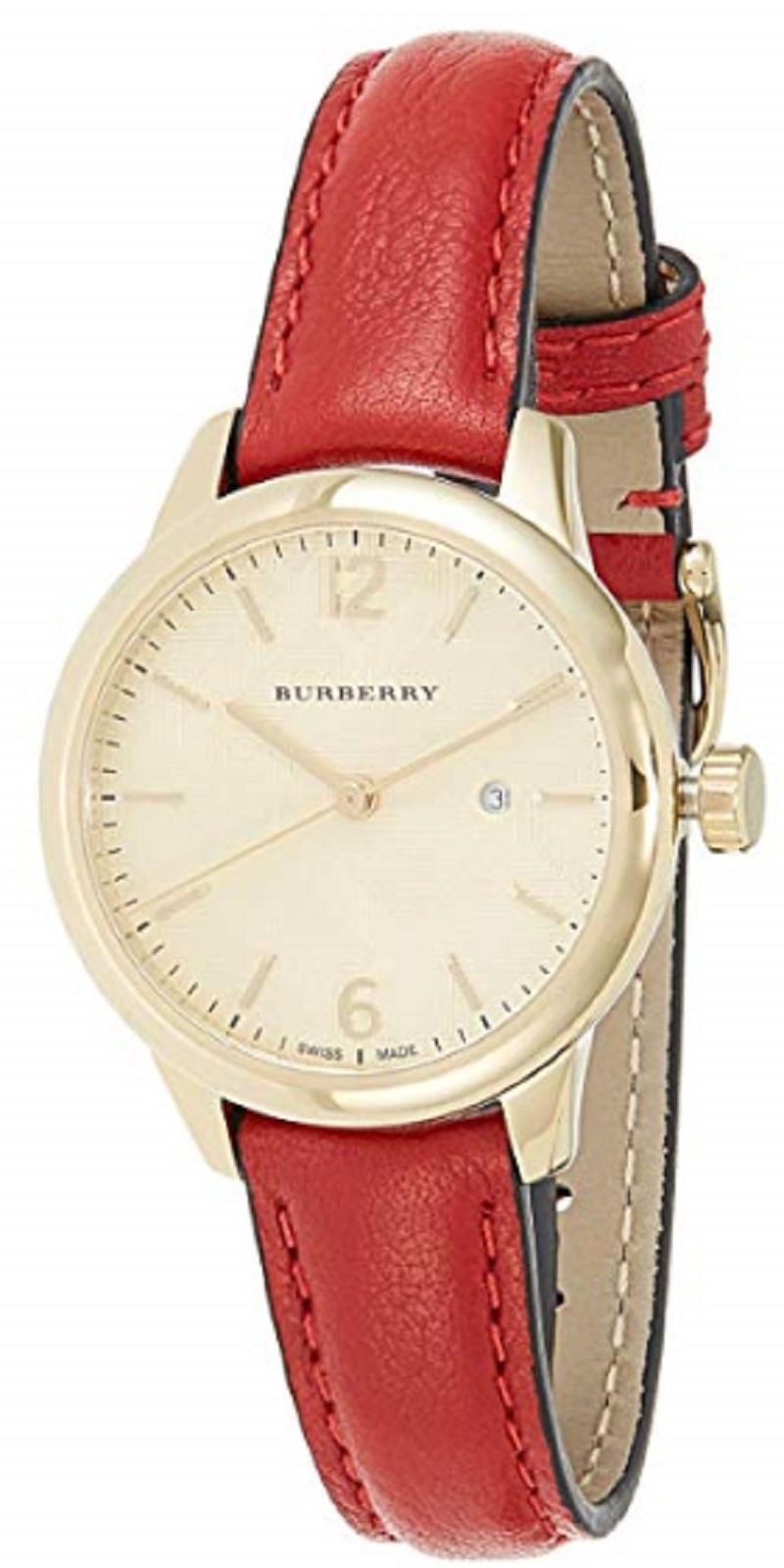 NWT *AUTHENTIC* Burberry BU10102 Women's Swiss Red Leather Strap Watch