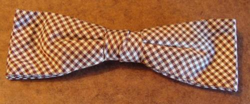 Vintage Rust Resist Brown Cream Checks Clip On Bow Tie