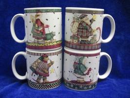 Sakura Debbie Mumm Sledding Characters Coffee Mugs Christmas Set of 4 - $26.14