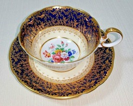 John Aynsley Cardiff Bone China Footed Cup and Saucer Set Cobalt Blue and Gold - $195.00