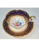 John Aynsley Cardiff Bone China Footed Cup and Saucer Set Cobalt Blue an... - $195.00