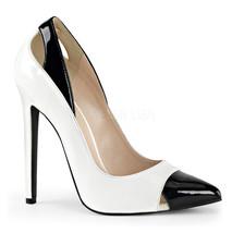 """PLEASER Shoes Sexy White & Black Cutout Spectators 5"""" Stiletto Heels Pumps - $51.95"""