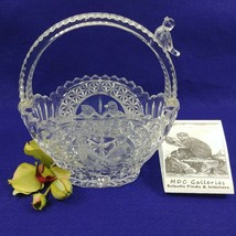 Etched Glass Basket Bird Figurine on Handle and Etched on Sides - $41.59