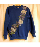 Floral Design with silver  on Blue  Sweatshirt size S-38 - $14.88