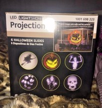 LED Lightshow Projection w/ 6 Halloween Slides - Witch/Skeleton/Skull/Ey... - $29.02