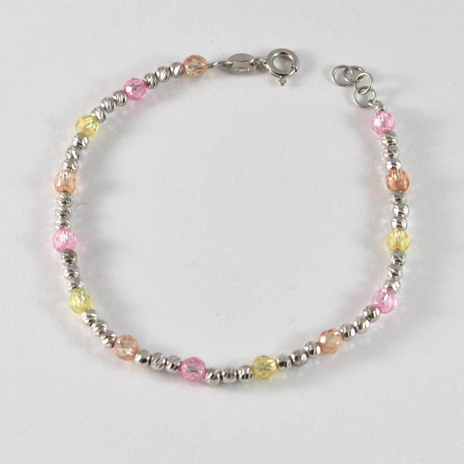 SILVER 925 BRACELET RHODIUM WITH BEADS FACETED AND ZIRCONIA CUBIC