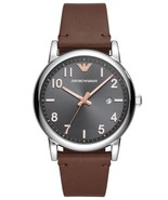 Emporio Armani AR11175 Black Dial Brown Leather Strap Men's Watch - $138.51
