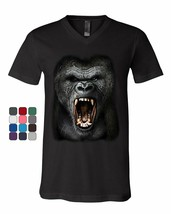 Angry Gorilla Roar V-Neck T-Shirt Wild Africa Silverback Great Ape Tee - $15.72+