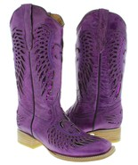 Womens Purple Flower Wings Sequins Leather Cowgirl Boots Square Toe - €74,50 EUR