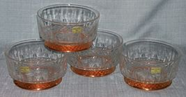 "Arcoroc CopperCraft Guild- Diamant Salad /dessert Bowls- 5"" Copper Bases-NWT image 5"